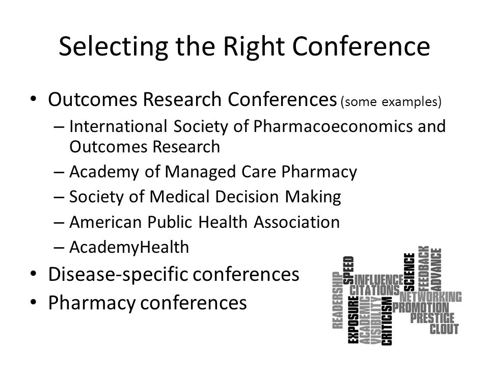 Selecting the Right Conference Outcomes Research Conferences (some examples) – International Society of Pharmacoeconomics and Outcomes Research – Academy of Managed Care Pharmacy – Society of Medical Decision Making – American Public Health Association – AcademyHealth Disease-specific conferences Pharmacy conferences