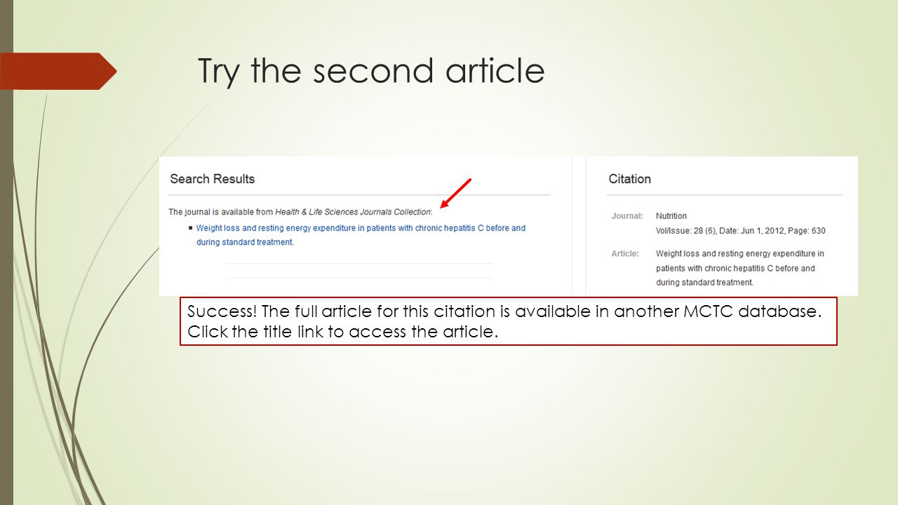 Try the second article Success.