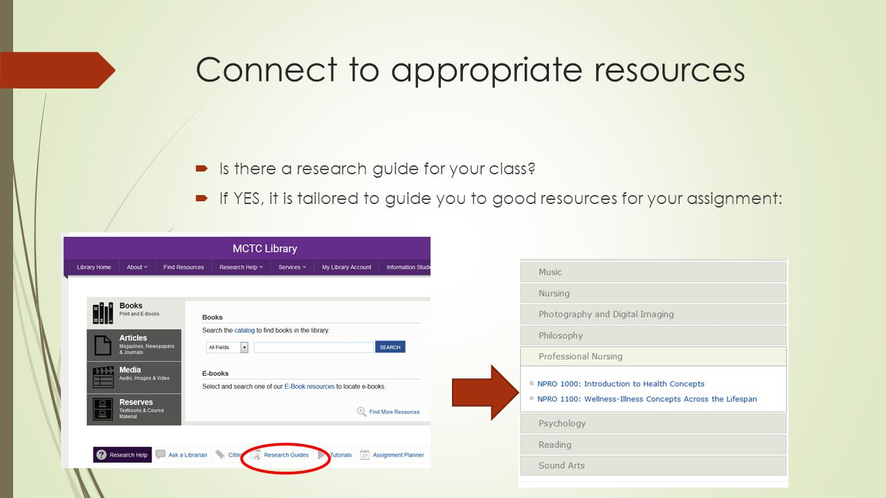 Connect to appropriate resources  Is there a research guide for your class.