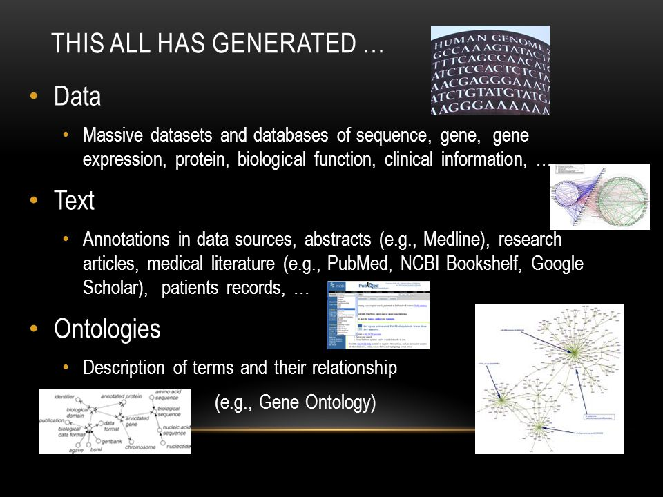 THIS ALL HAS GENERATED … Data Massive datasets and databases of sequence, gene, gene expression, protein, biological function, clinical information, … Text Annotations in data sources, abstracts (e.g., Medline), research articles, medical literature (e.g., PubMed, NCBI Bookshelf, Google Scholar), patients records, … Ontologies Description of terms and their relationship (e.g., Gene Ontology)