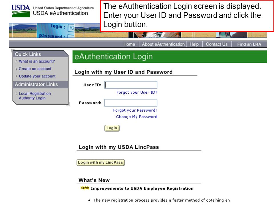 The eAuthentication Login screen is displayed.