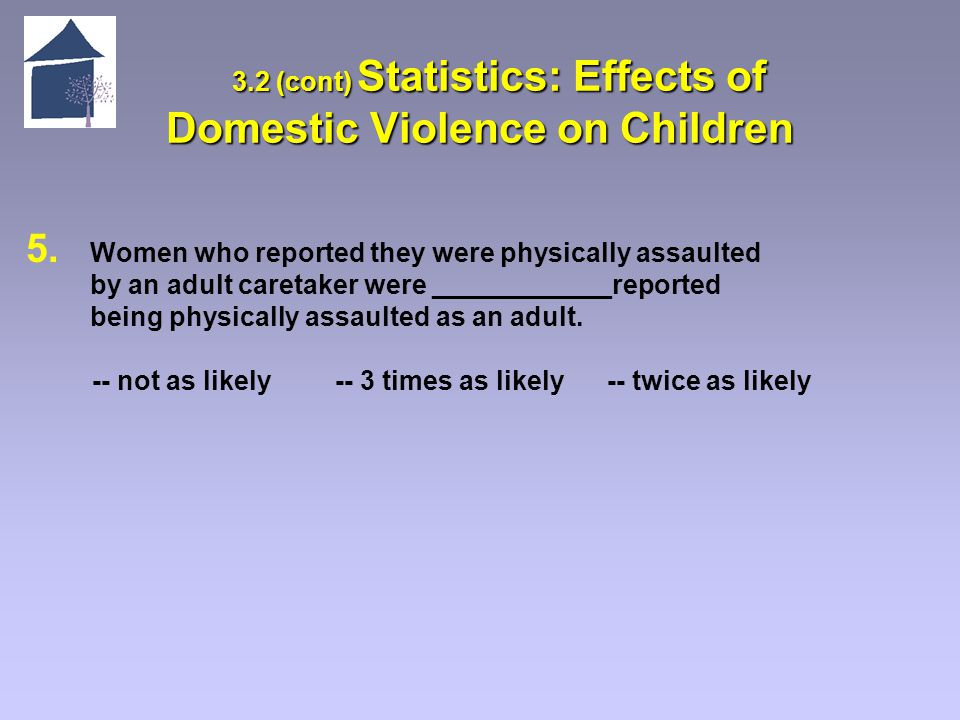 3.2 (cont) Statistics: Effects of Domestic Violence on Children 3.2 (cont) Statistics: Effects of Domestic Violence on Children 5.