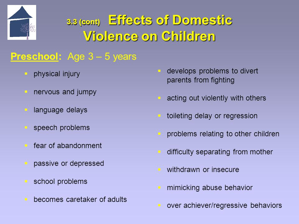 3.3 (cont) Effects of Domestic Violence on Children Preschool: Age 3 – 5 years  physical injury  nervous and jumpy  language delays  speech problems  fear of abandonment  passive or depressed  school problems  becomes caretaker of adults  develops problems to divert parents from fighting  acting out violently with others  toileting delay or regression  problems relating to other children  difficulty separating from mother  withdrawn or insecure  mimicking abuse behavior  over achiever/regressive behaviors