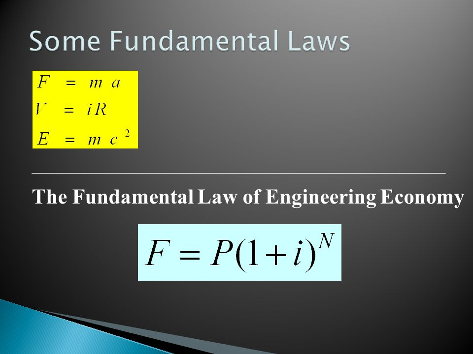 The Fundamental Law of Engineering Economy