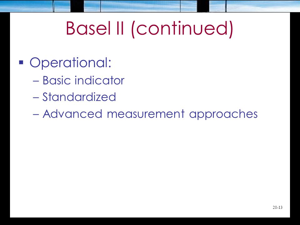 20-13 Basel II (continued)  Operational: –Basic indicator –Standardized –Advanced measurement approaches