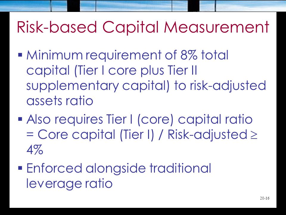 20-16 Risk-based Capital Measurement  Minimum requirement of 8% total capital (Tier I core plus Tier II supplementary capital) to risk-adjusted assets ratio  Also requires Tier I (core) capital ratio = Core capital (Tier I) / Risk-adjusted  4%  Enforced alongside traditional leverage ratio