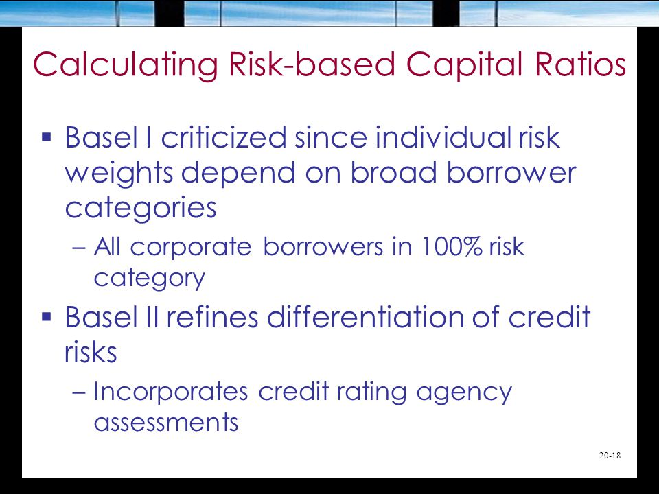 20-18  Basel I criticized since individual risk weights depend on broad borrower categories –All corporate borrowers in 100% risk category  Basel II refines differentiation of credit risks –Incorporates credit rating agency assessments Calculating Risk-based Capital Ratios