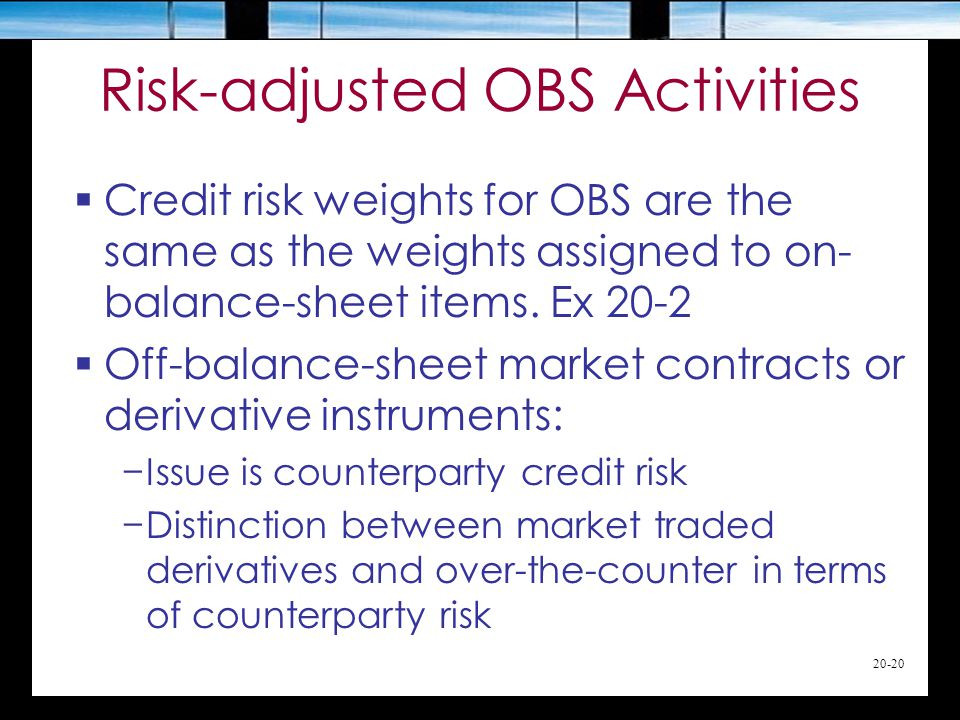20-20 Risk-adjusted OBS Activities  Credit risk weights for OBS are the same as the weights assigned to on- balance-sheet items.