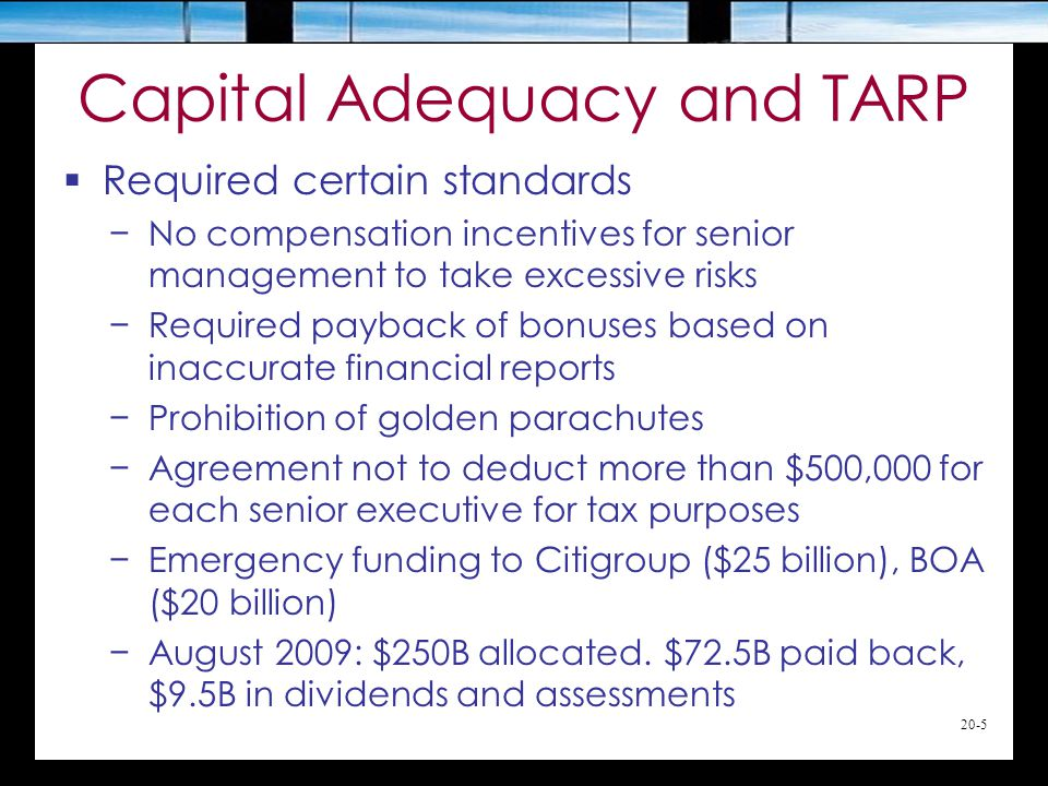 20-5 Capital Adequacy and TARP  Required certain standards −No compensation incentives for senior management to take excessive risks −Required payback of bonuses based on inaccurate financial reports −Prohibition of golden parachutes −Agreement not to deduct more than $500,000 for each senior executive for tax purposes −Emergency funding to Citigroup ($25 billion), BOA ($20 billion) −August 2009: $250B allocated.