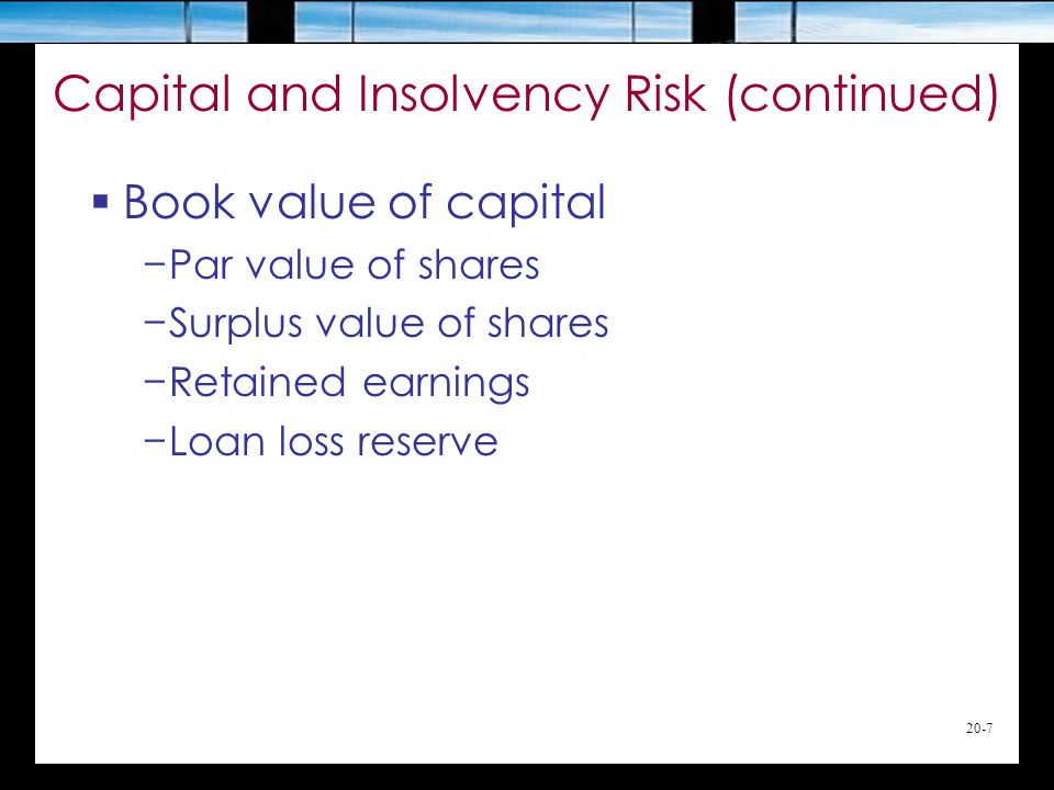 20-7 Capital and Insolvency Risk (continued)  Book value of capital −Par value of shares −Surplus value of shares −Retained earnings −Loan loss reserve