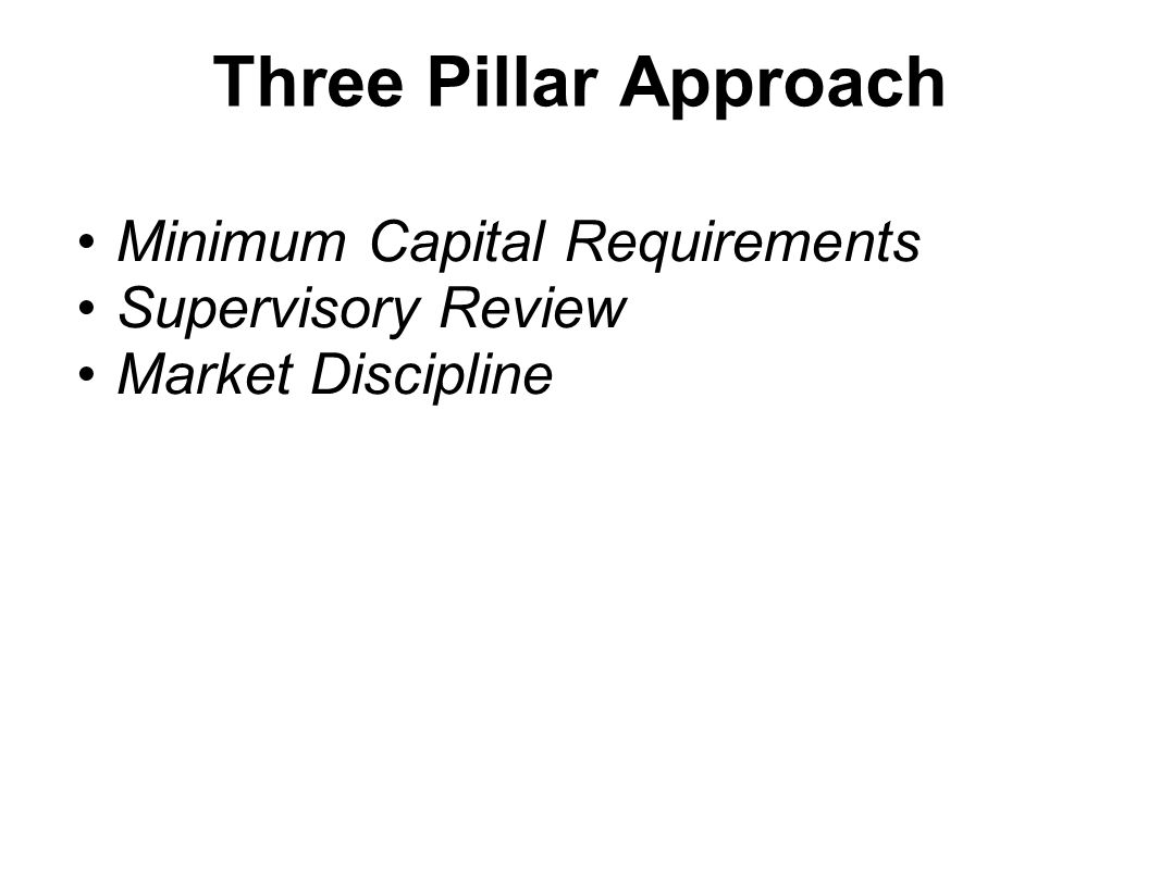 Three Pillar Approach Minimum Capital Requirements Supervisory Review Market Discipline