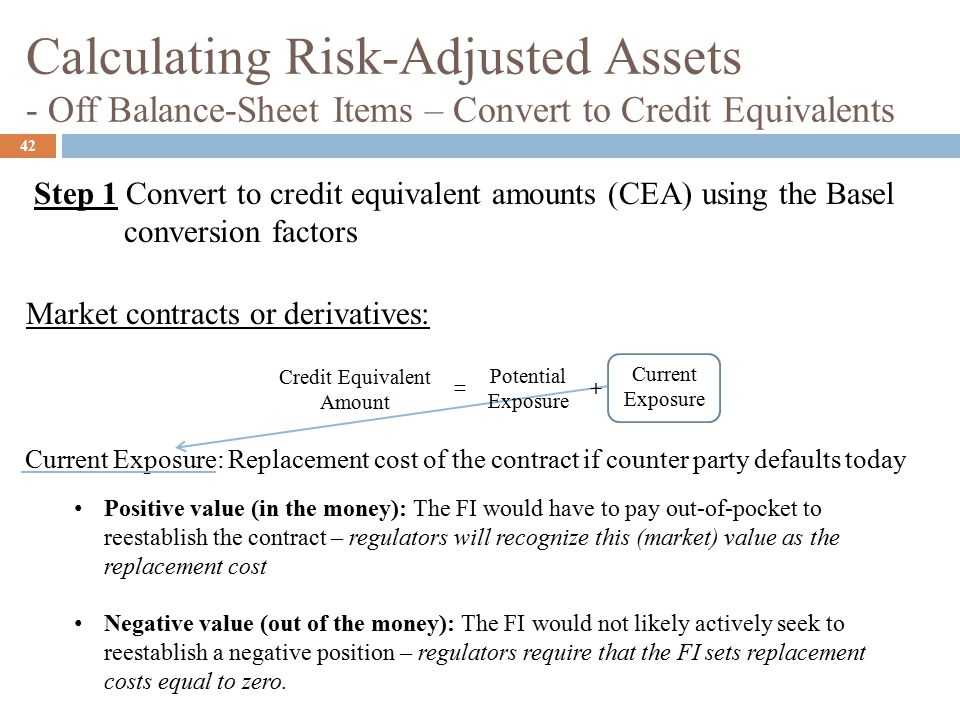 Calculating Risk-Adjusted Assets - Off Balance-Sheet Items – Convert to Credit Equivalents 42 Current Exposure: Replacement cost of the contract if counter party defaults today Step 1 Convert to credit equivalent amounts (CEA) using the Basel conversion factors Market contracts or derivatives: Credit Equivalent Amount = + Current Exposure Potential Exposure Positive value (in the money): The FI would have to pay out-of-pocket to reestablish the contract – regulators will recognize this (market) value as the replacement cost Negative value (out of the money): The FI would not likely actively seek to reestablish a negative position – regulators require that the FI sets replacement costs equal to zero.