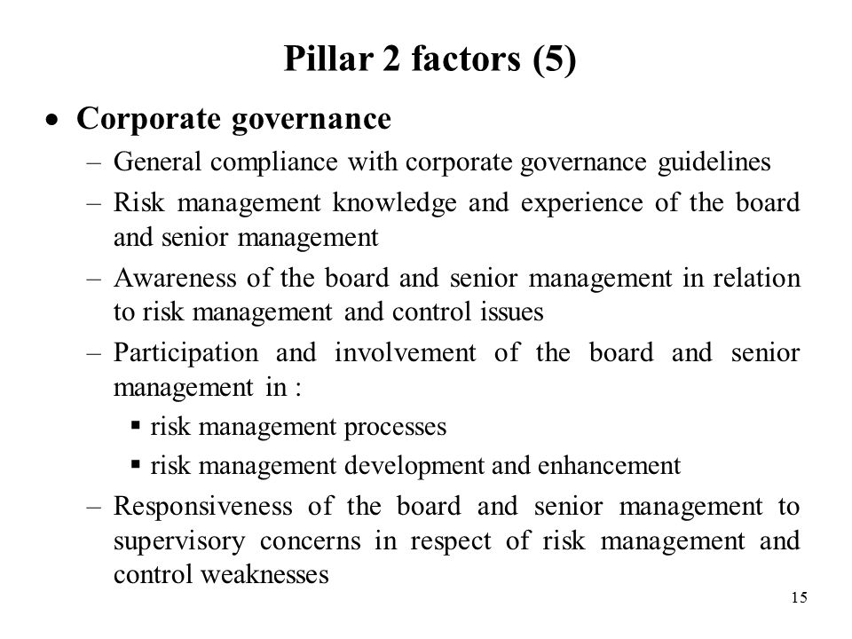 15 Pillar 2 factors (5)  Corporate governance –General compliance with corporate governance guidelines –Risk management knowledge and experience of the board and senior management –Awareness of the board and senior management in relation to risk management and control issues –Participation and involvement of the board and senior management in :  risk management processes  risk management development and enhancement –Responsiveness of the board and senior management to supervisory concerns in respect of risk management and control weaknesses