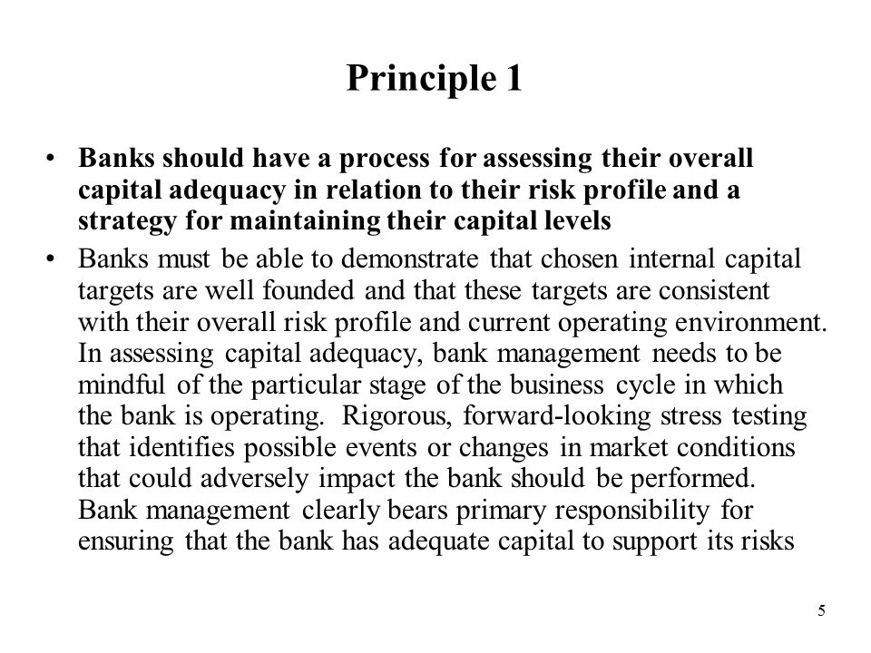 5 Principle 1 Banks should have a process for assessing their overall capital adequacy in relation to their risk profile and a strategy for maintaining their capital levels Banks must be able to demonstrate that chosen internal capital targets are well founded and that these targets are consistent with their overall risk profile and current operating environment.