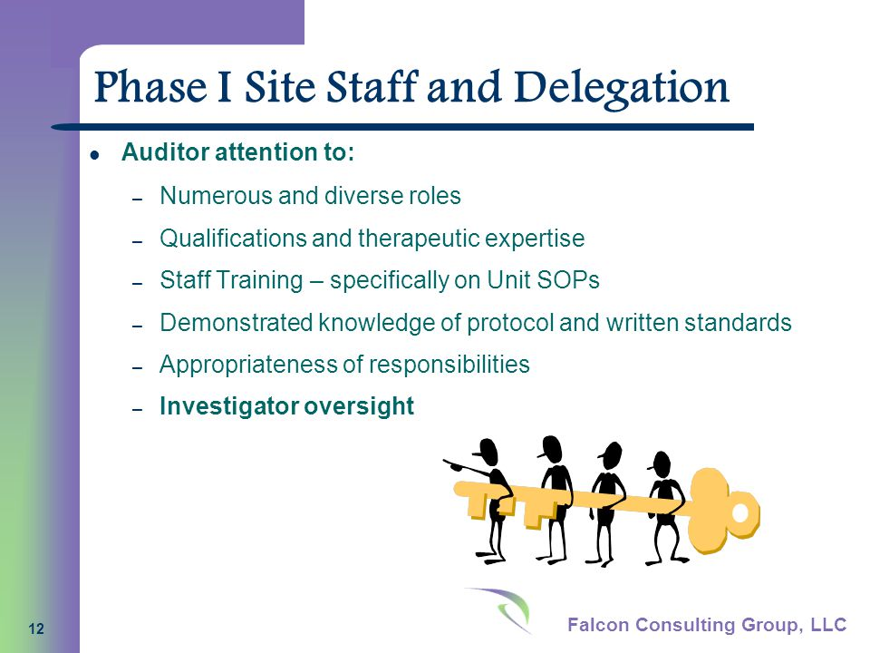 Falcon Consulting Group, LLC 12 Phase I Site Staff and Delegation Auditor attention to: – Numerous and diverse roles – Qualifications and therapeutic expertise – Staff Training – specifically on Unit SOPs – Demonstrated knowledge of protocol and written standards – Appropriateness of responsibilities – Investigator oversight