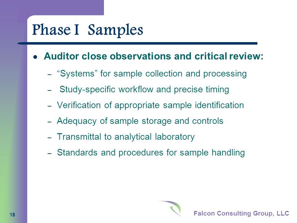 Falcon Consulting Group, LLC 18 Phase I Samples Auditor close observations and critical review: – Systems for sample collection and processing – Study-specific workflow and precise timing – Verification of appropriate sample identification – Adequacy of sample storage and controls – Transmittal to analytical laboratory – Standards and procedures for sample handling