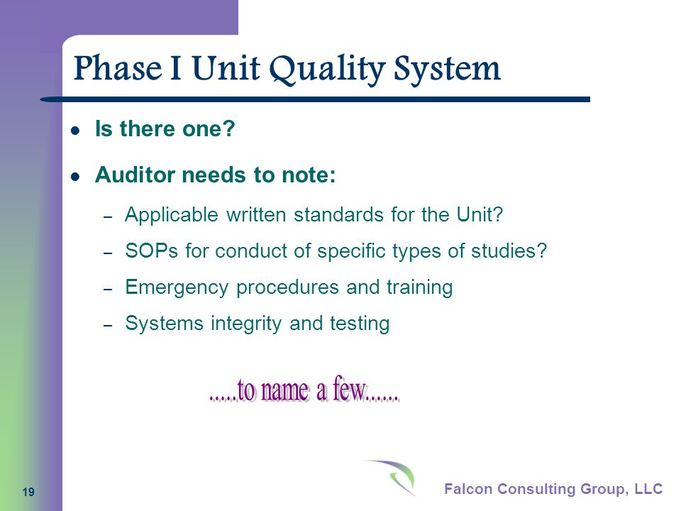 Falcon Consulting Group, LLC 19 Phase I Unit Quality System Is there one.