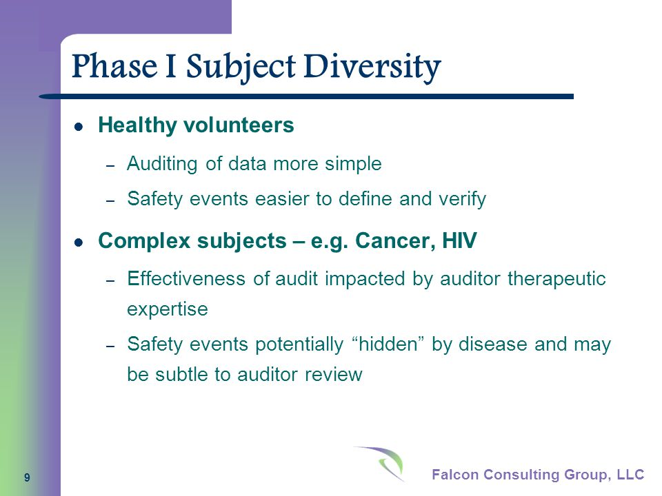 Falcon Consulting Group, LLC 9 Phase I Subject Diversity Healthy volunteers – Auditing of data more simple – Safety events easier to define and verify Complex subjects – e.g.