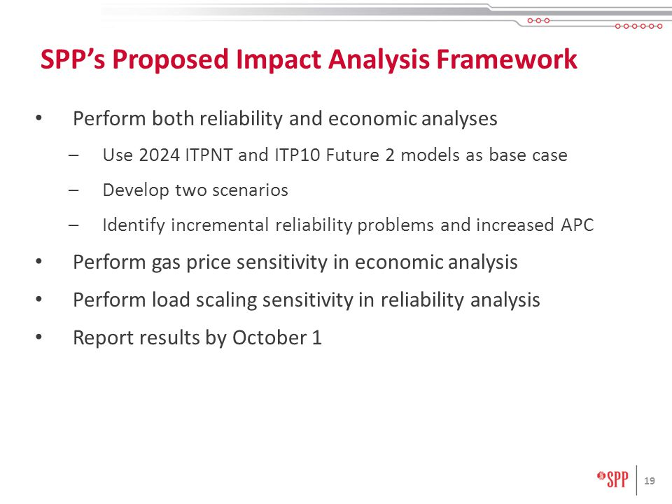 Perform both reliability and economic analyses –Use 2024 ITPNT and ITP10 Future 2 models as base case –Develop two scenarios –Identify incremental reliability problems and increased APC Perform gas price sensitivity in economic analysis Perform load scaling sensitivity in reliability analysis Report results by October 1 19 SPP's Proposed Impact Analysis Framework