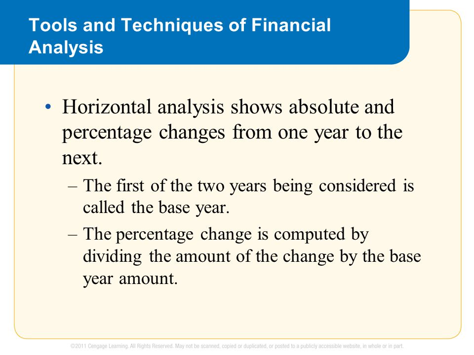 Tools and Techniques of Financial Analysis Horizontal analysis shows absolute and percentage changes from one year to the next.