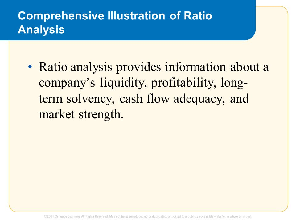 Comprehensive Illustration of Ratio Analysis Ratio analysis provides information about a company's liquidity, profitability, long- term solvency, cash flow adequacy, and market strength.