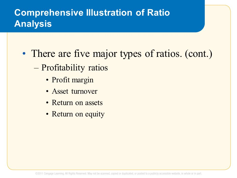 Comprehensive Illustration of Ratio Analysis There are five major types of ratios.