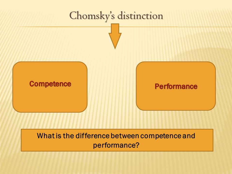 Chomsky's distinction Chomsky's distinction What is the difference between competence and performance