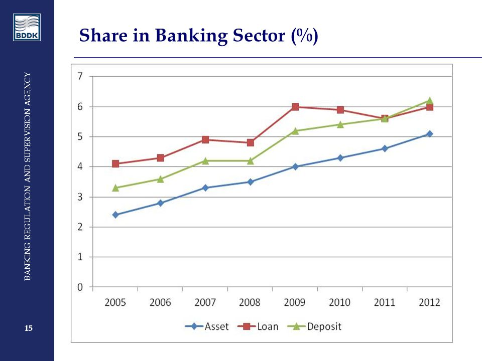 15 BANKING REGULATION AND SUPERVISION AGENCY 15 Share in Banking Sector (%)