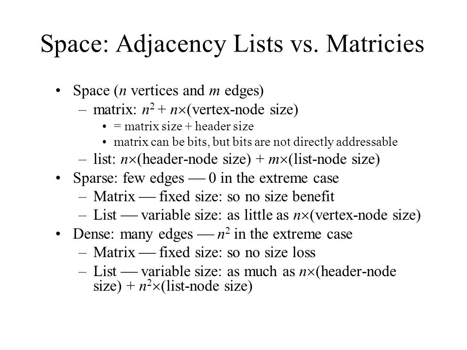 Discussion #33 Adjacency Matrices  Topics Adjacency matrix for a
