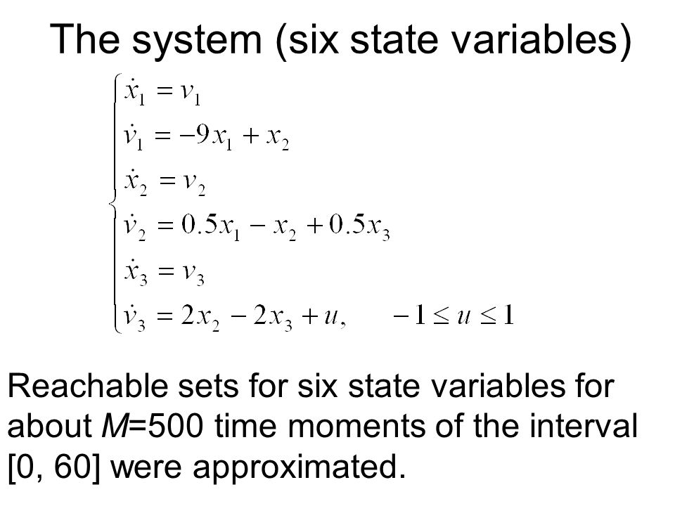 The system (six state variables) Reachable sets for six state variables for about M=500 time moments of the interval [0, 60] were approximated.