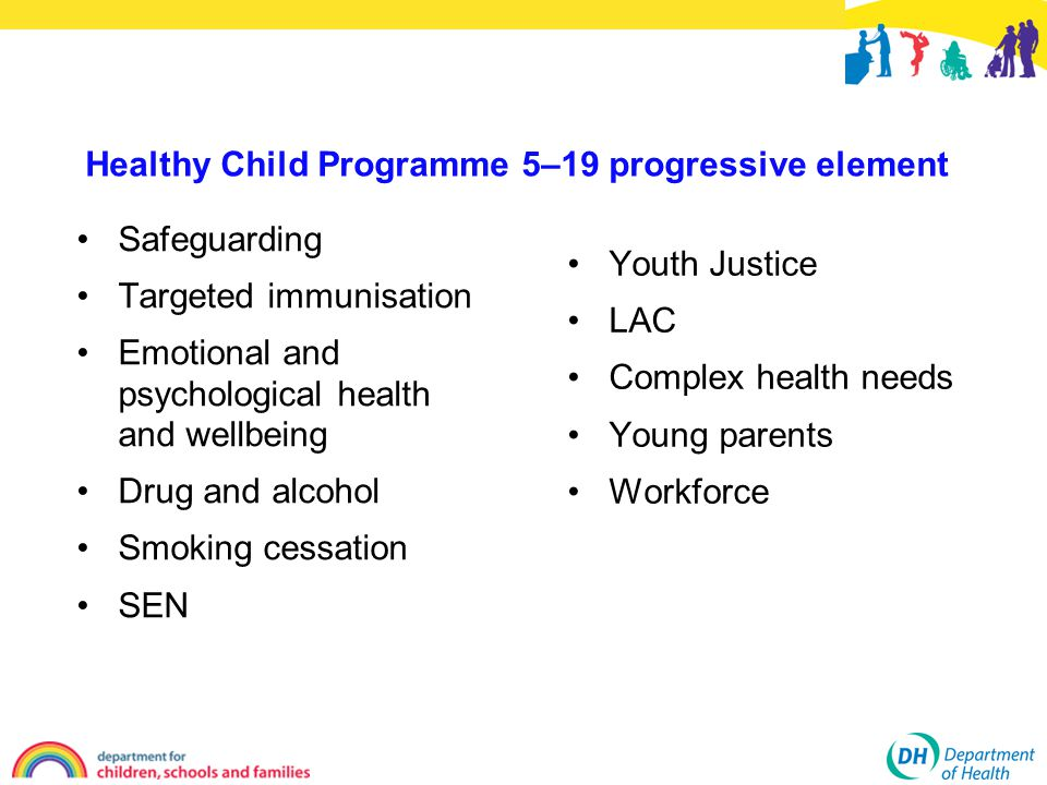 Healthy Child Programme 5–19 progressive element Safeguarding Targeted immunisation Emotional and psychological health and wellbeing Drug and alcohol Smoking cessation SEN Youth Justice LAC Complex health needs Young parents Workforce