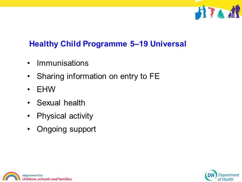 Healthy Child Programme 5–19 Universal Immunisations Sharing information on entry to FE EHW Sexual health Physical activity Ongoing support