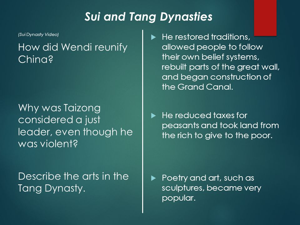 (Sui Dynasty Video) How did Wendi reunify China.