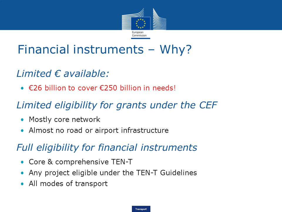 Transport Financial instruments – Why.