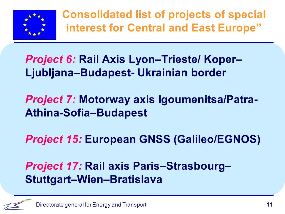 Directorate general for Energy and Transport11 Consolidated list of projects of special interest for Central and East Europe Project 6: Rail Axis Lyon–Trieste/ Koper– Ljubljana–Budapest- Ukrainian border Project 7: Motorway axis Igoumenitsa/Patra- Athina-Sofia–Budapest Project 15: European GNSS (Galileo/EGNOS) Project 17: Rail axis Paris–Strasbourg– Stuttgart–Wien–Bratislava