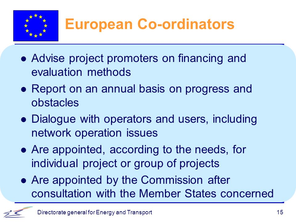 Directorate general for Energy and Transport15 European Co-ordinators l Advise project promoters on financing and evaluation methods l Report on an annual basis on progress and obstacles l Dialogue with operators and users, including network operation issues l Are appointed, according to the needs, for individual project or group of projects l Are appointed by the Commission after consultation with the Member States concerned