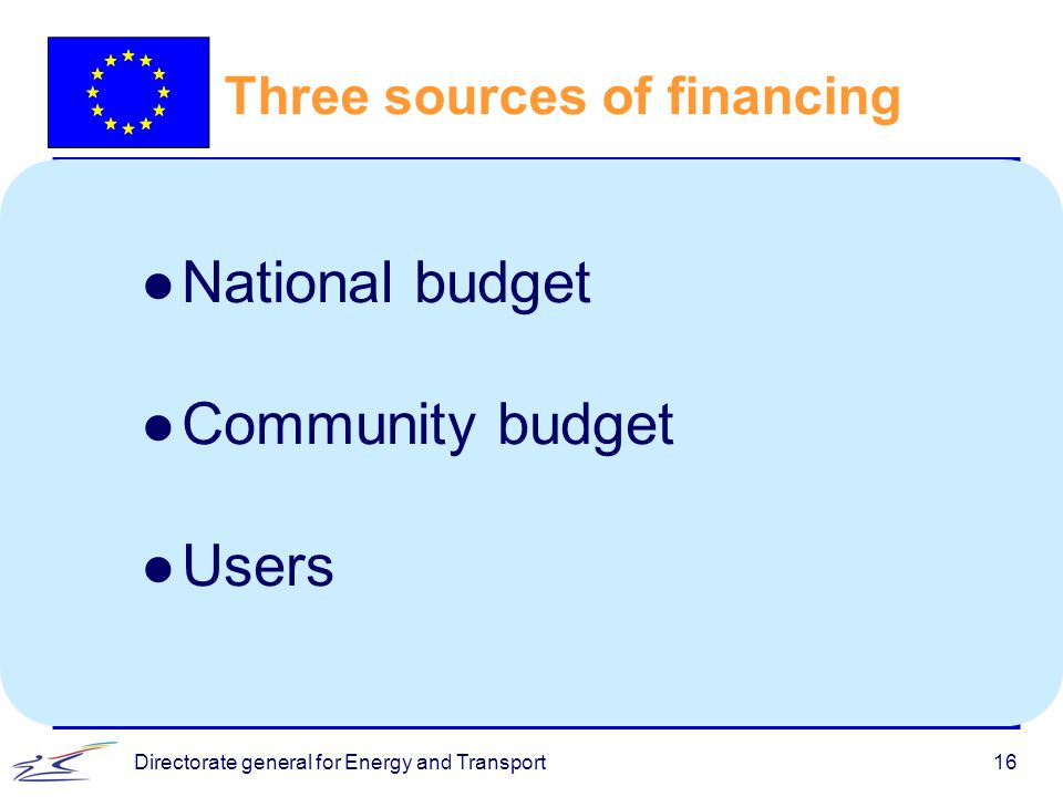 Directorate general for Energy and Transport16 Three sources of financing l National budget l Community budget l Users