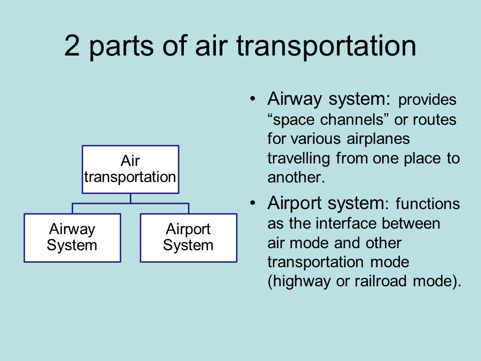 2 parts of air transportation Air transportation Airway System Airport System Airway system: provides space channels or routes for various airplanes travelling from one place to another.