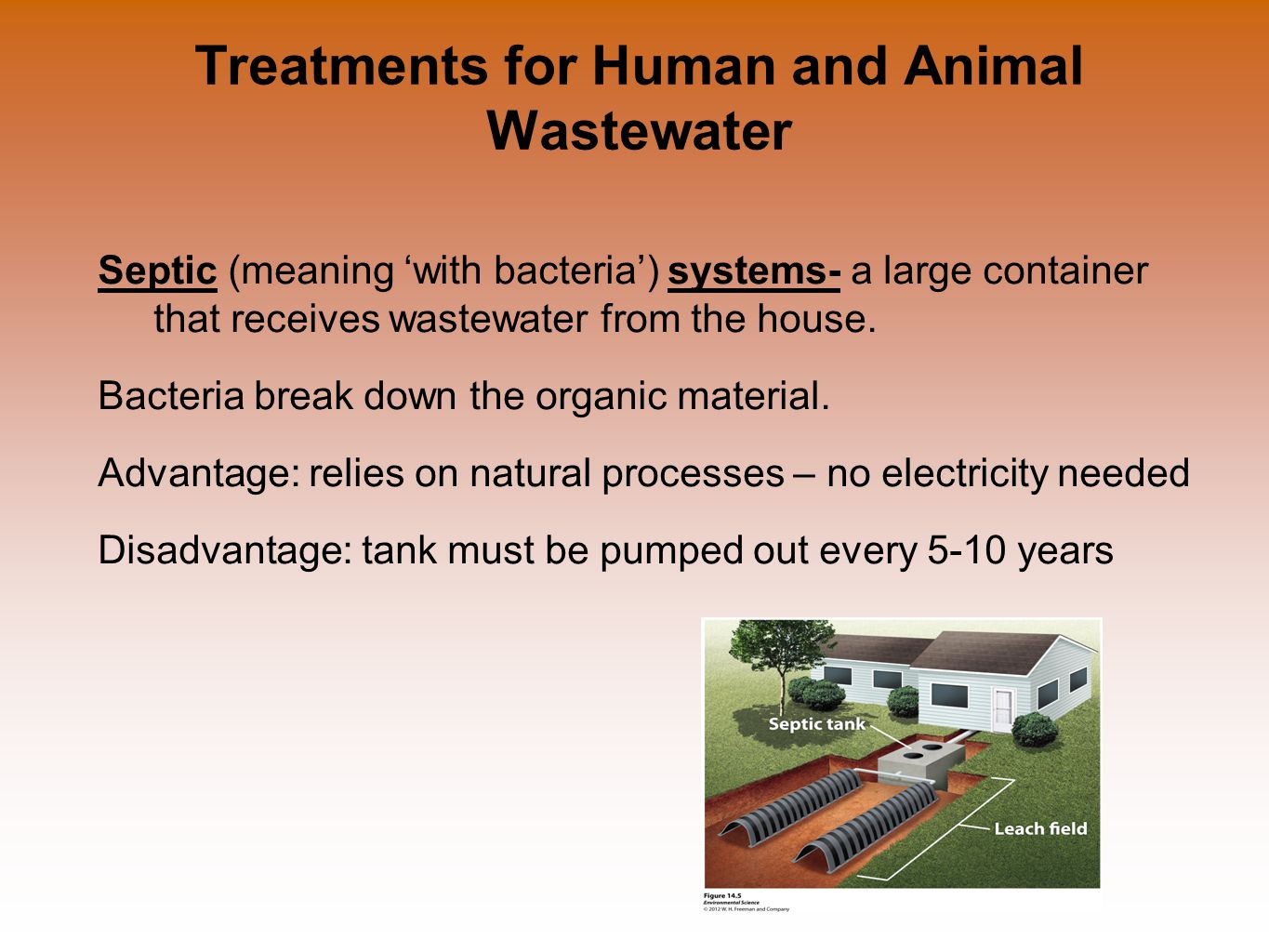 Treatments for Human and Animal Wastewater Septic (meaning 'with bacteria') systems- a large container that receives wastewater from the house.