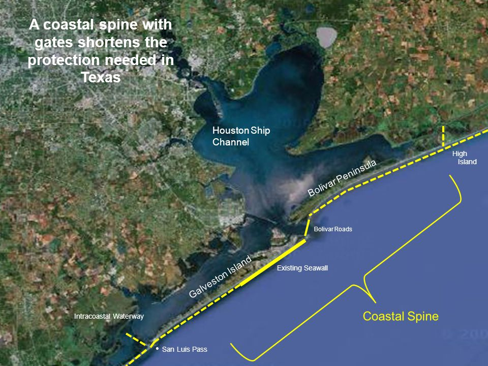 Galveston Island Bolivar Peninsula Bolivar Roads Intracoastal Waterway San Luis Pass Existing Seawall High Island Houston Ship Channel A coastal spine with gates shortens the protection needed in Texas