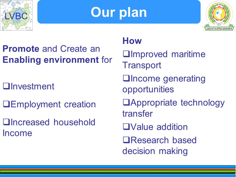 LVBC Our plan Promote and Create an Enabling environment for  Investment  Employment creation  Increased household Income How  Improved maritime Transport  Income generating opportunities  Appropriate technology transfer  Value addition  Research based decision making