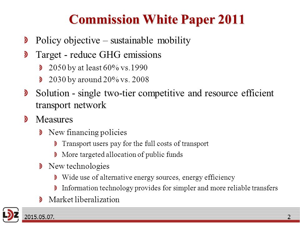 Commission White Paper 2011 Policy objective – sustainable mobility Target - reduce GHG emissions 2050 by at least 60% vs by around 20% vs.