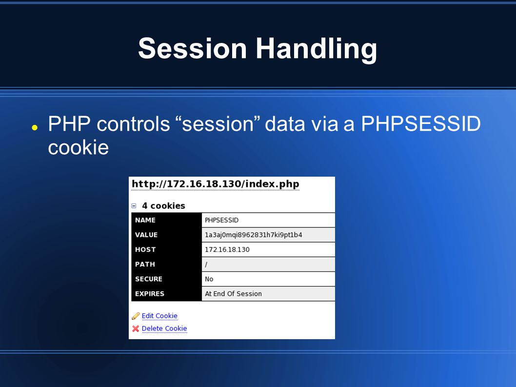 Session Handling PHP controls session data via a PHPSESSID cookie