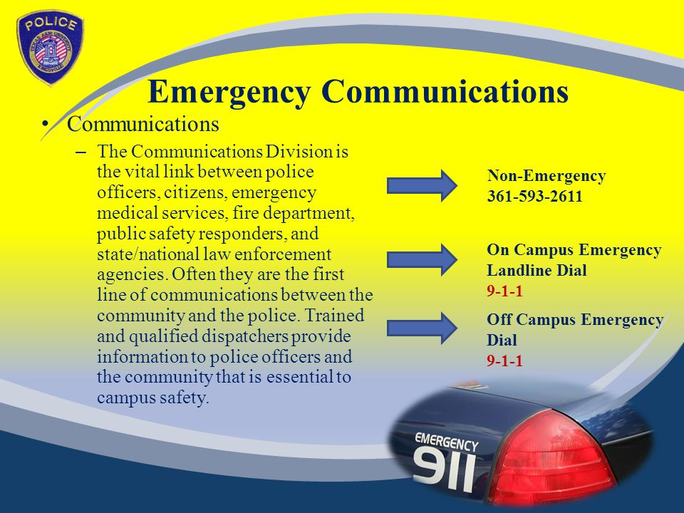 Emergency Communications Communications – The Communications Division is the vital link between police officers, citizens, emergency medical services, fire department, public safety responders, and state/national law enforcement agencies.
