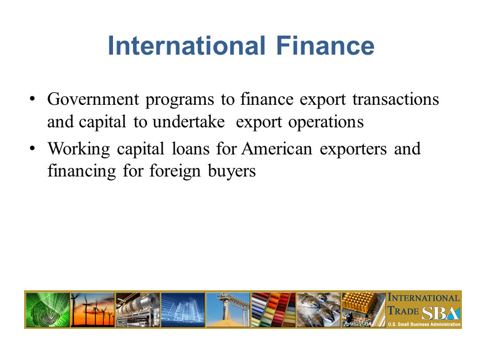 International Finance Government programs to finance export transactions and capital to undertake export operations Working capital loans for American exporters and financing for foreign buyers