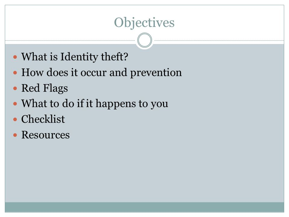 Objectives What is Identity theft.