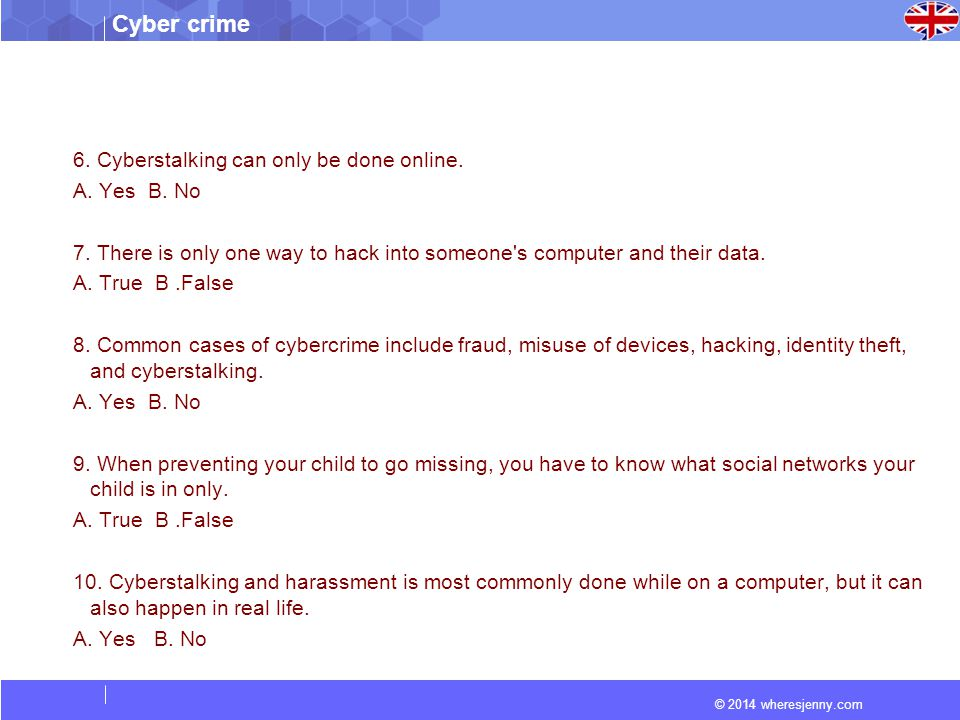 © 2014 wheresjenny.com Cyber crime 6. Cyberstalking can only be done online.