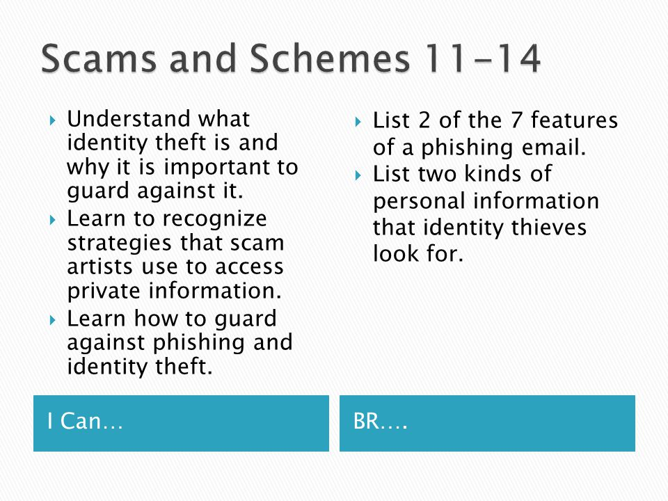 I Can…BR….  Understand what identity theft is and why it is important to guard against it.