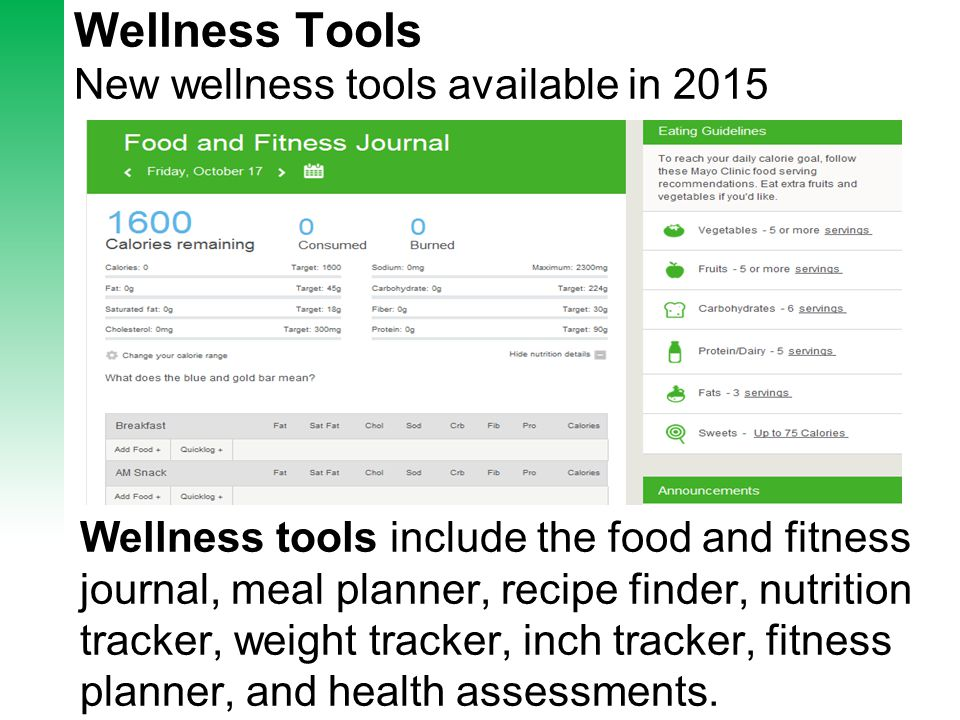 Wellness Tools Slide New wellness tools available in 2015 Wellness tools include the food and fitness journal, meal planner, recipe finder, nutrition tracker, weight tracker, inch tracker, fitness planner, and health assessments.