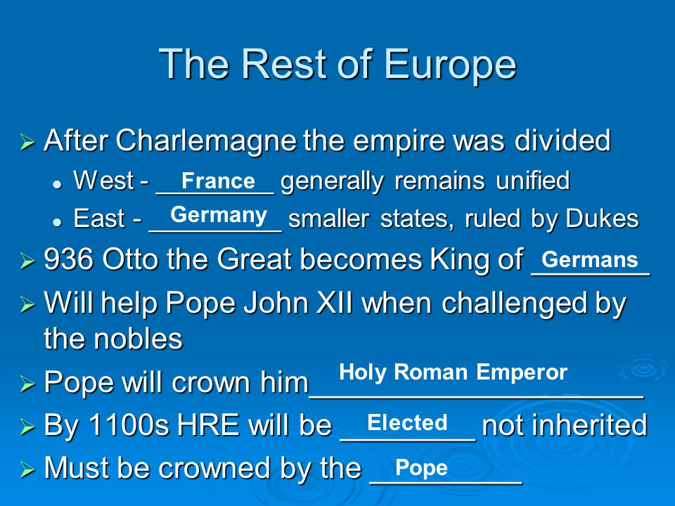 The Rest of Europe  After Charlemagne the empire was divided West - ________ generally remains unified West - ________ generally remains unified East - _________ smaller states, ruled by Dukes East - _________ smaller states, ruled by Dukes  936 Otto the Great becomes King of _______  Will help Pope John XII when challenged by the nobles  Pope will crown him____________________  By 1100s HRE will be ________ not inherited  Must be crowned by the _________ France Germany Germans Holy Roman Emperor Elected Pope